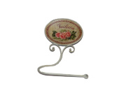 """Cream Metal Toilet Roll Holder Vintage French Style Shabby Chic with Pink Rose """"Toilettes"""" Detail"""