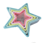 5 x STAR SHAPE COOKIE CUTTERS - B48 - DISHWASHER SAFE