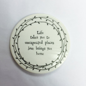 East of India Porcelain Leaf Coaster - Life Takes You To Unexpected Places