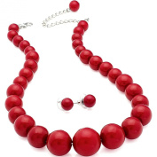 Red colour graduated bead choker necklace earring costume jewellery set
