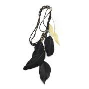 DDU(TM) 1Pc Black . Women Feather Leaf Weave Unique Forehead Hair Band Headband