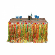 Hawaiian Table Skirt Grass Multi Colour Tropical Garden Beach Summer Party Decorations