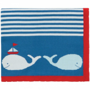 Elegant Baby 100% Cotton Tightly Knit Blanket, Whale Motif, 80cm X 100cm