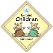 Grandchildren On Board Car Sign, Car Sign, Brown & Green Bears, Baby on Board, Decal, Baby Sign, Baby Car Sign, Bumper Sticker, Baby on Board Sign, Kid's On Board Sign, Baby Car Sign, Baby accessories, Baby Car Signs, Grandchild On Board