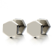 2pcs Hexagon Screw Stud Earrings for Men Women, Stainless Steel Cheater Fake Ear Plugs Illusion Tunnel