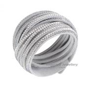 Slake Style Crystal encrusted 9 strands Layered Wrap Bracelet B50 Light Grey