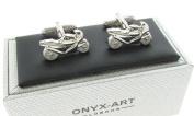 Racing Motorcycle Motorbike Cufflinks In Onyx Art Cufflink Box