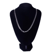 STOREINBOX 55CM Chain Curb Link Silver Tone Stainless Steel Necklace for Men Boy