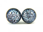 Handmade Dichroic Glass Earrings - Dainty 8mm with Silver Plated Studs - Includes Gift Bag