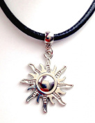 New Leather Choker Charm Necklace Vintage Hippy Retro Black Cord Sun