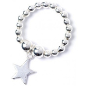 Sterling Silver 'Rice & Noodle' Ball Bead Ring with Star Charm