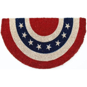 Americana Half Circle Mid-Thickness Hand Woven Coir Doormat, 46cm x 80cm