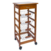 Wooden Kitchen Trolley Cart With Baskets, Drawer & Tile Top Chopping Board