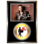 BRUCE SPRINGSTEEN - SIGNED FRAMED GOLD VINYL RECORD CD & PHOTO DISPLAY