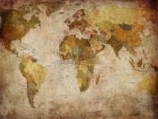 MAP GLOBE WORLD ATLAS ANTIQUE STYLE MODERN LAYOUT ART PRINT POSTER MP3674B