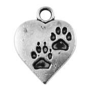 Pack of 20 x Antique Silver Tibetan 17mm Charms (PAW PRINT) - (HA08025) - Charming Beads