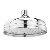 Old London Traditional Bathroom 20cm Apron Fixed Round Shower Head In Chrome Finish