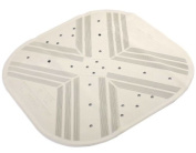 H & S Thick Square 53 x 53cm Cream Rubber Extra Grip Suction Non Slip Bath Shower Mat Disability