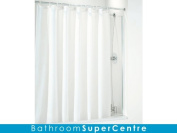 Coram Showers SCS15CUC 1400mm x 250mm Fixed Shower Curtain Bath Screen with 4mm Thick Clear Glass - Chrome