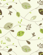 "Leaves and Stems Cream & Green Table Vinyl Oilcloth Wipe Clean Tablecloth 200 x 137cm (78"" x 54""), leaf"