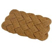 JVL 45 x 75 cm Natural Coir Hand Made Indoor Outdoor Knotted Rope Door Floor Mat, Brown