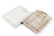 Lime Washed Natural Shabby Chic Vintage Wooden Rustic Small Tray Serving Plant Candle