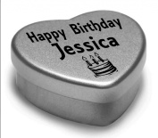 Happy Birthday Jessica Mini Heart Tin Gift Present For Jessica WIth Chocolates. Silver Heart Tin. Fits Beautifully in the Palm of Your Hand. Great Birthday Present To Show Somebody You are Thinking of Them.