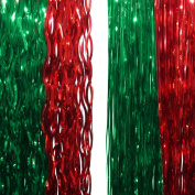 2 Christmas Party 48cm Red And Green Foil Festive Lametta Tree Decorations
