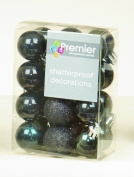 24 x Black shatterproof Christmas tree Baubles Decorations Mixed finishes