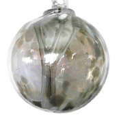 Witches or Spirit ball, 15cm, silver with glass strands inside
