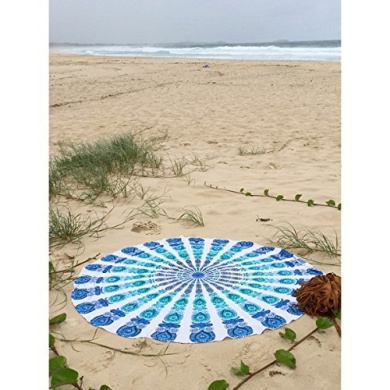 Indian Mandala Round Roundie Beach Throw Tapestry, Hippy Boho Gypsy Cotton Tablecloth Meditation Yoga Mat With Beautiful Carry Bag, Queen Indian Bedding Coverlet, Picnic Beach Sheet, 180cm . By Bhagyoday