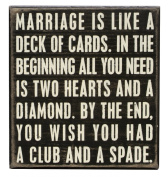 Primitives By Kathy Box Sign Marriage Is Like A Deck Of Cards