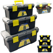 BARGAINS-GALORE® 3PC PLASTIC TOOL BOX CHEST SET HANDLE TRAY & COMPARTMENT DIY STORAGE TOOLBOX BAG