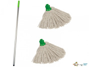 Professional Colour Coded Mop Handle and 2 Mop Heads - Colour Green