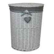 JVL Hearts Willow Wicker Round Linen Laundry Basket with Lid and Grey Lining