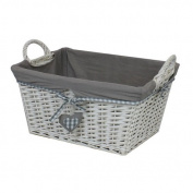 JVL Hearts Willow Wicker Rectangular Linen Laundry Basket and Grey Lining