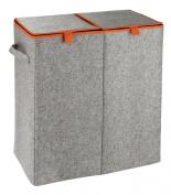 Wenko 3440402100 Double Laundry Basket 82 Litres Felt Grey / Orange
