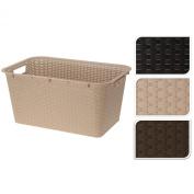 Cream High Quality Rattan Style Plastic Laundry Linen Storage Basket Box Hamper