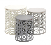 Deco 79 Metal Wood Accent Table, 22 by 48cm by 43cm , Set of 3