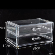 BerucciTM Clear Two Drawers Acrylic Jewellery Makeup Cosmetic Organiser Holder Storage