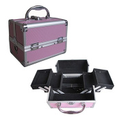BerucciTM Professional Pink 20cm Lightweight Aluminium Makeup Artist Organiser Kit with 4 Extendable Trays, Aluminium Trimming, Lock and Keys, and Shoulder Strap