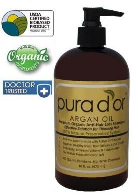 Pura d'or Premium Organic Anti-Hair Loss Shampoo (Gold Label), 16 Fluid Ounce by pura d'or