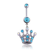 Oasis Plus Clear & Blue Crystal Crown Navel Rings Rhinestones Belly Button Ring Surgical Steel Body Glitters Piercing Jewellery