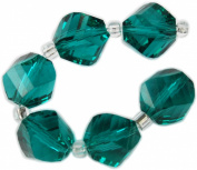 Beads, Teale Blue Faceted Irregular Bead 8mm - 6pcs