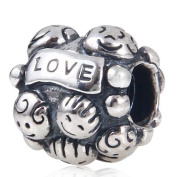 """Hoobeads Happy Family Authentic 925 Sterling Silver Charm """"Family & Love"""" with Screw Thread Fits Pandora Chamilia Biagi Troll Beads Europen Style Bracelets"""
