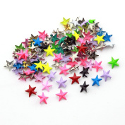 100pcs 15mm Star Colourful DIY Metal Studs 2 Prongs Spots Nailheads Spikes for Bag Shoes Jeans Bracelet Multiple Colour