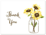 50 Cnt Sunflower on White Bridal Wedding Shower Thank You Cards