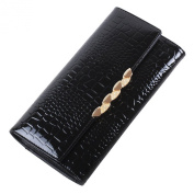 Mantos Eternity Alligator Pattern Lady's Genuine Leather Trifold Wallet Card Case Long Purse Handbag