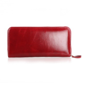 Mantos Eternity Soft Lux Women's Wax Paper Genuine Leather Zipper Arround Long Wallet Purse Card Phone Holder