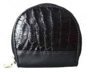 Authentic River Crocodile Skin Women's Belly Leather Black Zipper Coin Purse Wallet